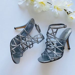 Via Spiga Silver Leather Strappy Heels